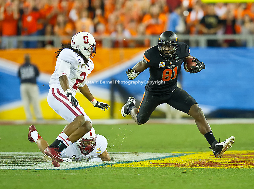 STANFORD, CA - January 2, 2012: Oklahoma State wide receiver Justin Blackmon (81) competes against Stanford at the Fiesta Bowl at University of Phoenix Stadium in Phoenix, AZ. Final score Stanford wins 41-38.