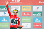 Race leader Simon Yates (GBR) Mitchelton-Scott retains the Red Jersey at the end of Stage 20 of the La Vuelta 2018, running 97.3km from Andorra Escaldes-Engordany to Coll de la Gallina, Spain. 15th September 2018.                   <br /> Picture: Unipublic/Photogomezsport | Cyclefile<br /> <br /> <br /> All photos usage must carry mandatory copyright credit (&copy; Cyclefile | Unipublic/Photogomezsport)
