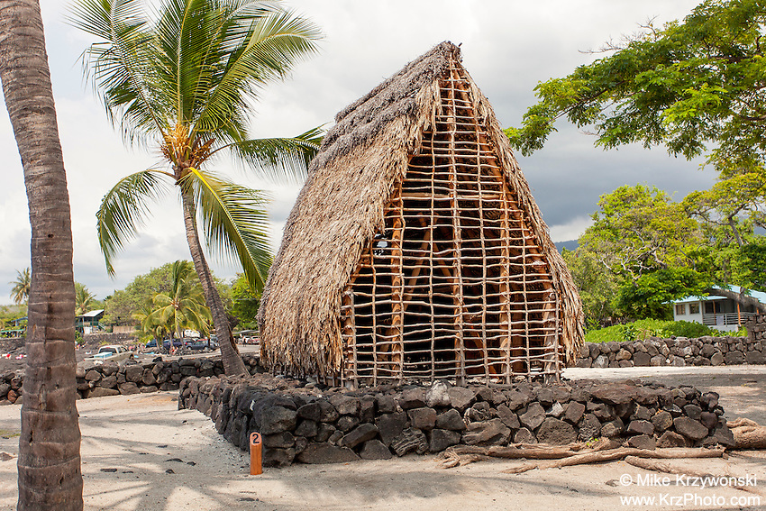 Thatched hut temple  model in Pu'uhonua o Honaunau place of refuge national historical park, Big Island, Hawaii