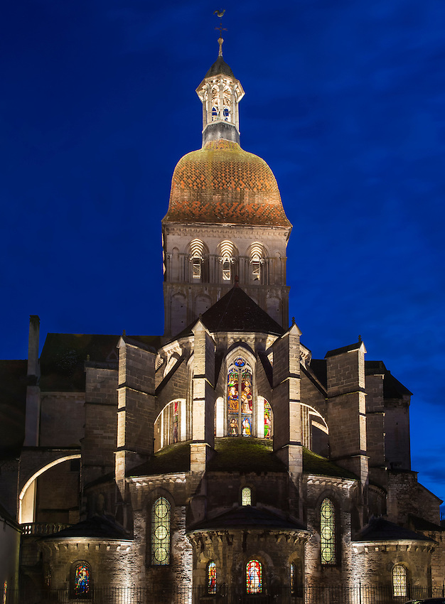 A late evening view of the rear of the collegial basilica of Notre Dame of Beaune.