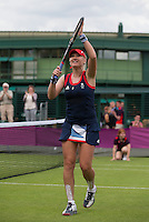 Elena Baltacha - Great Britain..Tennis - OLympic Games -Olympic Tennis -  London 2012 -  Wimbledon - AELTC - The All England Club - London - Saturday 28th June  2012. .© AMN Images, 30, Cleveland Street, London, W1T 4JD.Tel - +44 20 7907 6387.mfrey@advantagemedianet.com.www.amnimages.photoshelter.com.www.advantagemedianet.com.www.tennishead.net