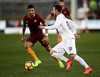 Calcio, Serie A: Roma, Stadio Olimpico, 7 febbraio 2017.<br /> Fiorentina Federico Bernardeschi (r) in action with Roma's Emerson Palmieri (l) during the Italian Serie A football match between AS Roma and Fiorentina at Roma's Olympic Stadium, on February 7, 2017.<br /> UPDATE IMAGES PRESS/Isabella Bonotto