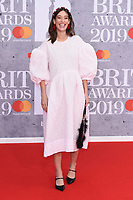Laura Jacksaon<br /> arriving for the BRIT Awards 2019 at the O2 Arena, London<br /> <br /> ©Ash Knotek  D3482  20/02/2019<br /> <br /> *images for editorial use only*