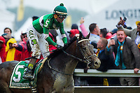 BALTIMORE, MD - MAY 21: Exaggerator #5, ridden by Kent J. Desormeaux, wins the 141st running of the Preakness Stakes at Pimlico Race Course on May 21, 2016 in Baltimore, Maryland. (Photo by Zoe Metz/Eclipse Sportswire/Getty Images)