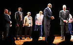 "Eric Simonson, Thomas Kail, Robert Manning Jr., Francois Battiste, Tug Coker, Larry Bird, Earvin 'Magic' Johnson.during the Broadway Opening Night Performance Curtain Call for ""Magic / Bird"" at the Longacre Theatre in New York City on April 11, 2012"
