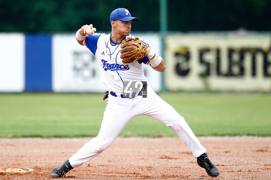 21 June 2011: Yann Dal Zotto of Team France is seen during UCLA Alumni 5-3 win over France, at the 2011 Prague Baseball Week, in Prague, Czech Republic.