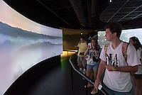 Incoming Occidental College students participate in Oxy Engage with the group LA Icons and visit the OUE Skyspace LA and try the glass slide 1,000 feet up, located in the US Bank Tower in downtown Los Angeles on Aug. 24, 2016.<br /> Oxy Engage is a pre-orientation program that introduces incoming students to the vibrant city of Los Angeles. Upperclassmen facilitators lead trips to experience culture, film, food, nature, social justice, the urban environment, and much more.<br /> (Photo by Marc Campos, Occidental College Photographer)