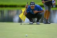 Hideki Matsuyama (JPN) lines up his putt on 3 during 2nd round of the World Golf Championships - Bridgestone Invitational, at the Firestone Country Club, Akron, Ohio. 8/3/2018.<br /> Picture: Golffile | Ken Murray<br /> <br /> <br /> All photo usage must carry mandatory copyright credit (© Golffile | Ken Murray)