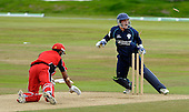 One Day International, Scotland V Canada, at Mannofield, Aberdeen - a first stumping in International cricket for Arbroath wicketkeeper Marc Petrie, here removing the bailes of Canadian capt Ashish Bagai - Picture by Donald MacLeod 08.07.09