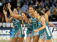 11.07.2010 Thunderbirds (L-R) Mo'onia Geraard, Sharnie Layton, Geva Mentor and Natalie VonBertouch celebrate winning the ANZ Champs Final netball match between the Magic and Tunderbirds played at the Adelaide Entertainment Centre in Adelaide. ©MBPHOTO/Michael Bradley