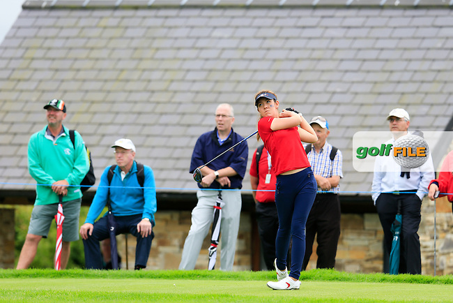 Hannah O'Sullivan on the 18th during Sunday Singles matches at the 2016 Curtis cup from Dun Laoghaire Golf Club, Ballyman Rd, Enniskerry, Co. Wicklow, Ireland. 12/06/2016.<br /> Picture Fran Caffrey / Golffile.ie<br /> <br /> All photo usage must carry mandatory copyright credit (&copy; Golffile | Fran Caffrey)