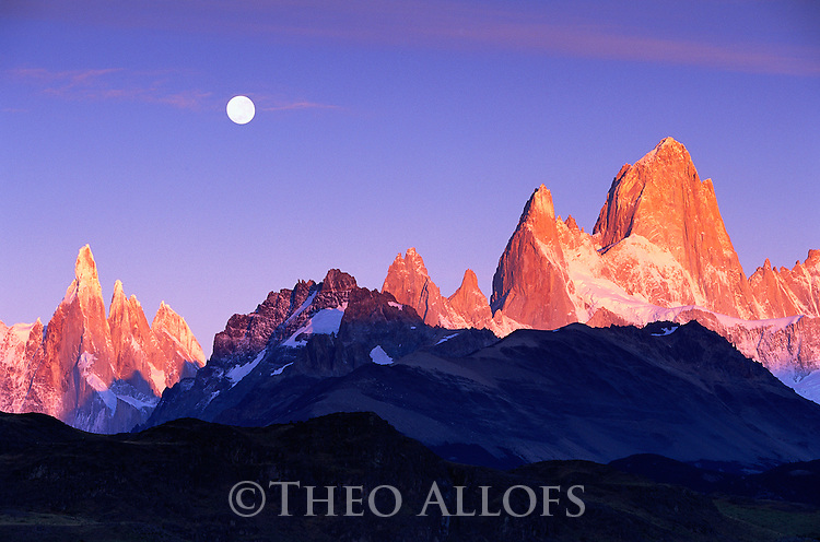 Full Moon Over Mount Torre and Mount Fitz Roy Peaks; Los Glaciares National Park, Patagonia, Argentina