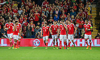 Joe Allen of Wales (7) celebrates scoring his side's second goal during the FIFA World Cup Qualifier match between Wales and Moldova at Cardiff City Stadium, Cardiff, Wales on 5 September 2016. Photo by Mark  Hawkins.