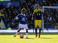 Pictured L-R: Steven Pienaar of Everton and Pablo Hernandez of Swansea. Sunday 16 February 2014<br />