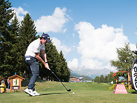 Ricardo Gouveia (POR) in action on the 18th hole during second round at the Omega European Masters, Golf Club Crans-sur-Sierre, Crans-Montana, Valais, Switzerland. 30/08/19.<br /> Picture Stefano DiMaria / Golffile.ie<br /> <br /> All photo usage must carry mandatory copyright credit (© Golffile | Stefano DiMaria)