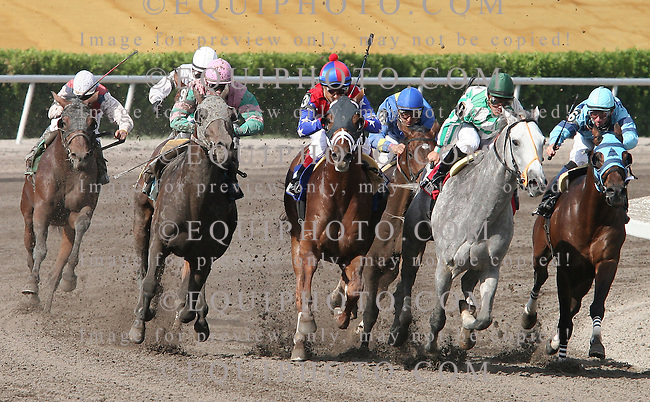 A.P.Arrow(3) (center) with Edgar Prado riding fights past Political Force(1) with Rehoboth(9) on the outside at the top of the stretch on the way to win the $150,000 Grade 3 Skip Away Handicap at Gulfstream Park in Hallandale Florida Gulfstream Park in Hallandale Florida on Saturday, March 31, 2007. Photo By Justin Dernier/EQUI-PHOTO