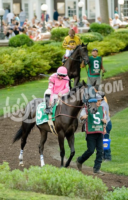 Via Villaggio before The Delaware Oaks (gr 2) at Delaware Park on 7/14/12