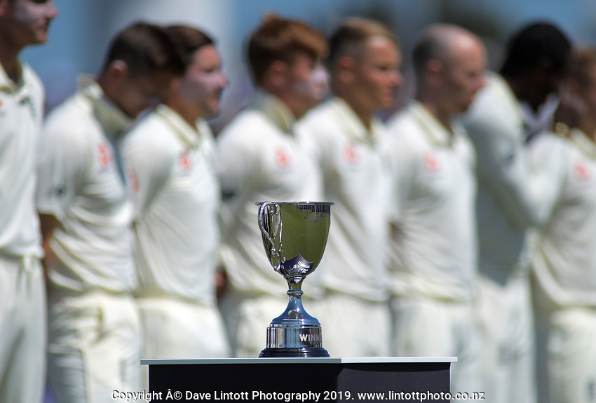 The series trophy stands on display during day one of the international cricket 1st test match between NZ Black Caps and England at Bay Oval in Mount Maunganui, New Zealand on Thursday, 21 November 2019. Photo: Dave Lintott / lintottphoto.co.nz