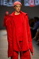 7 September 2017, Melbourne - Model parades design by student Danielle Rodriguez during the Melbourne Fashion Week in Melbourne, Australia. (Photo Sydney Low / asteriskimages.com)