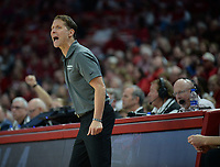 NWA Democrat-Gazette/ANDY SHUPE<br /> Arkansas coach Eric Musselman directs his players Saturday, Nov. 30, 2019, during the second half of play against Northern Kentucky in Bud Walton Arena. Visit nwadg.com/photos to see more photographs from the game.