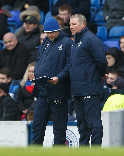 Kenny McDowall and Ally McCoist with the tactics clipboard