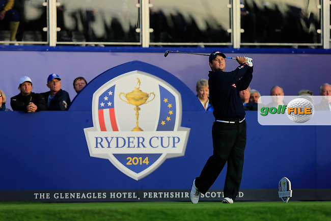 Patrick Reed (USA) during the Saturday morning Fourballs of the 2014 Ryder Cup at Gleneagles. The 40th Ryder Cup is being played over the PGA Centenary Course at The Gleneagles Hotel, Perthshire from 26th to 28th September 2014.: Picture Thos Caffrey, www.golffile.ie: \27/09/2014\