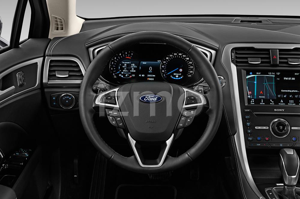 Car pictures of steering wheel view of a 2019 Ford Mondeo Vignale 4 Door Sedan Steering Wheel