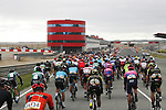 The peloton race around the Circuito de Navarra the start of Stage 12 of La Vuelta 2019 running 171.4km from Circuito de Navarra to Bilbao, Spain. 5th September 2019.<br /> Picture: Luis Angel Gomez/Photogomezsport | Cyclefile<br /> <br /> All photos usage must carry mandatory copyright credit (© Cyclefile | Luis Angel Gomez/Photogomezsport)