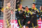 Stockholm 2014-04-16 Fotboll Allsvenskan Djurg&aring;rdens IF - AIK :  <br /> AIK:s Martin Lorentzson har gjort 1-0 och gratuleras av lagkamrater<br /> (Foto: Kenta J&ouml;nsson) Nyckelord:  Djurg&aring;rden DIF Tele2 Arena AIK jubel gl&auml;dje lycka glad happy
