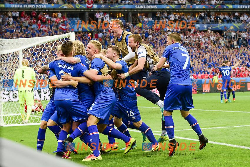 Arnor Ingvi Traustason (Isl) celebrates after scoring goal <br /> Esultanza gol <br /> Paris 22-06-2016 Saint Denis Footballl Euro2016 Iceland - Austria / Islanda - Austria Group Stage Group F. Foto JB Autissier / Panoramic / Insidefoto