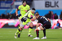 Kieran Longbottom of Sale Sharks takes on the Saracens defence. Aviva Premiership match, between Saracens and Sale Sharks on February 25, 2017 at Allianz Park in London, England. Photo by: Patrick Khachfe / JMP