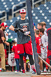 15 August 2017: Washington Nationals shortstop Trea Turner awaits a turn in the batting cage prior to a game against the Los Angeles Angels at Nationals Park in Washington, DC. The Nationals defeated the Angels 3-1 in the first game of their 2-game series. Mandatory Credit: Ed Wolfstein Photo *** RAW (NEF) Image File Available ***