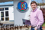 Cathal Fitzgerald, Causeway ComprehensiveSecondary School's principal doing remote learning at the school on Friday.