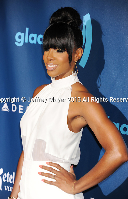 LOS ANGELES, CA- APRIL 20: Singer Kelly Rowland arrives at the 24th Annual GLAAD Media Awards at JW Marriott Los Angeles at L.A. LIVE on April 20, 2013 in Los Angeles, California.