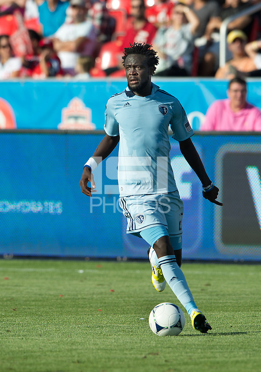 August 18, 2012: Sporting KC forward Kei Kamara #23 in action during an MLS game between Toronto FC and Sporting Kansas City at BMO Field in Toronto, Ontario Canada..Sporting Kansas City won 1-0.
