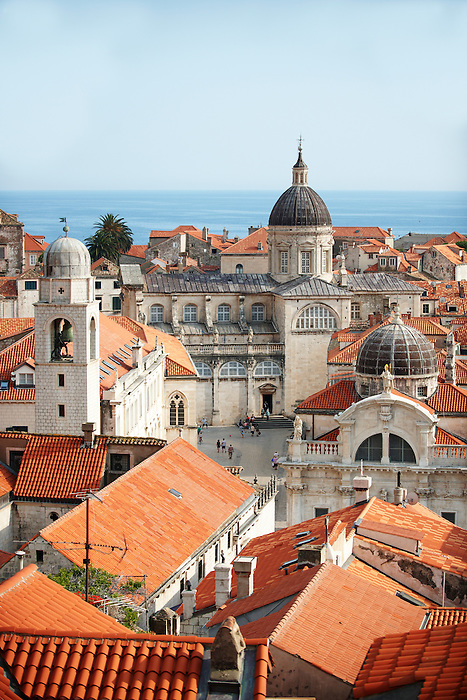 Stock photos of Roof tops of Dubrovnik with Cathedral, Croatia