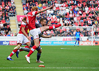 Lincoln City's Jack Payne vies for possession with Rotherham United's Shaun MacDonald<br /> <br /> Photographer Chris Vaughan/CameraSport<br /> <br /> The EFL Sky Bet Championship - Rotherham United v Lincoln City - Saturday 10th August 2019 - New York Stadium - Rotherham<br /> <br /> World Copyright © 2019 CameraSport. All rights reserved. 43 Linden Ave. Countesthorpe. Leicester. England. LE8 5PG - Tel: +44 (0) 116 277 4147 - admin@camerasport.com - www.camerasport.com
