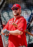 25 February 2019: Washington Nationals catcher Spencer Kieboom awaits his turn in the batting cage prior to a pre-season Spring Training game against the Atlanta Braves at Champion Stadium in the ESPN Wide World of Sports Complex in Kissimmee, Florida. The Braves defeated the Nationals 9-4 in Grapefruit League play in what will be the Braves' last season at the Disney / ESPN Wide World of Sports complex. Mandatory Credit: Ed Wolfstein Photo *** RAW (NEF) Image File Available ***