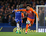 Chelsea's N'Golo Kante tussles with Manchester City's Leroy Sane during the Premier League match at the Stamford Bridge Stadium, London. Picture date: April 5th, 2017. Pic credit should read: David Klein/Sportimage