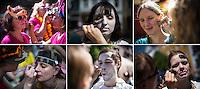Berlin, Die Bildkombo zeigt am Sonntag die Teilnehmer des traditionellen Strassenumzugs des Karnevals der Kulturen wenn sie sich schminken am Sonntag (19.05.13) in Berlin. Der Umzug bildet den Hoehepunkt eines viertaegigen Strassenfestes. Foto: Maja Hitij/CommonLens