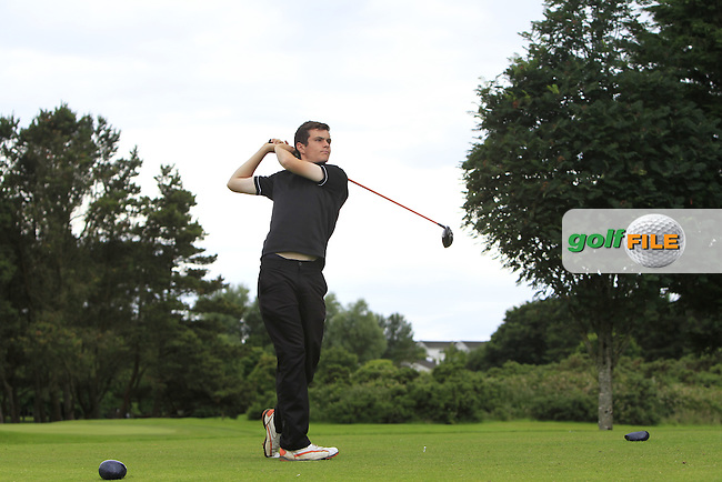 Charlie McDonnell (Castleblayney) on the 15th tee during R2 of the 2016 Connacht U18 Boys Open, played at Galway Golf Club, Galway, Galway, Ireland. 06/07/2016. <br /> Picture: Thos Caffrey | Golffile<br /> <br /> All photos usage must carry mandatory copyright credit   (&copy; Golffile | Thos Caffrey)