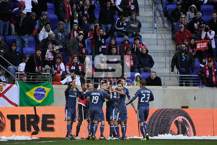 Mike Magee (18) of the Los Angeles Galaxy celebrates scoring with teammates during the 1st leg of the Major League Soccer (MLS) Western Conference Semifinals at Red Bull Arena in Harrison, NJ, on October 30, 2011.