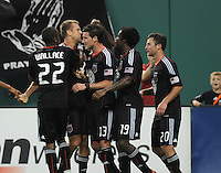 DC United forward Adam Cristman (7) celebrates his goal with team mates in the 76th minute of the game.  DC United defeated Chivas USA 3-2 at RFK Stadium, Saturday May 29, 2010.