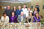 On Friday night last Garda Seamus Walsh(Ret.) seated front centre was acknowledged for his service to the Dromid Community at An Corcán Restaurant, Waterville.  Pictured here with the Dromid Community Watch Group were front l-r; June Collins, Helen O'Sullivan, Garda Seamus Walsh, Trish Walsh, Bridie O'Sullivan, back l-r; Mike Sheehan, Helen O'Sullivan, Patsy Murphy, Mike O'Shea, Abbie O'Sullivan & Mary Sheehan.