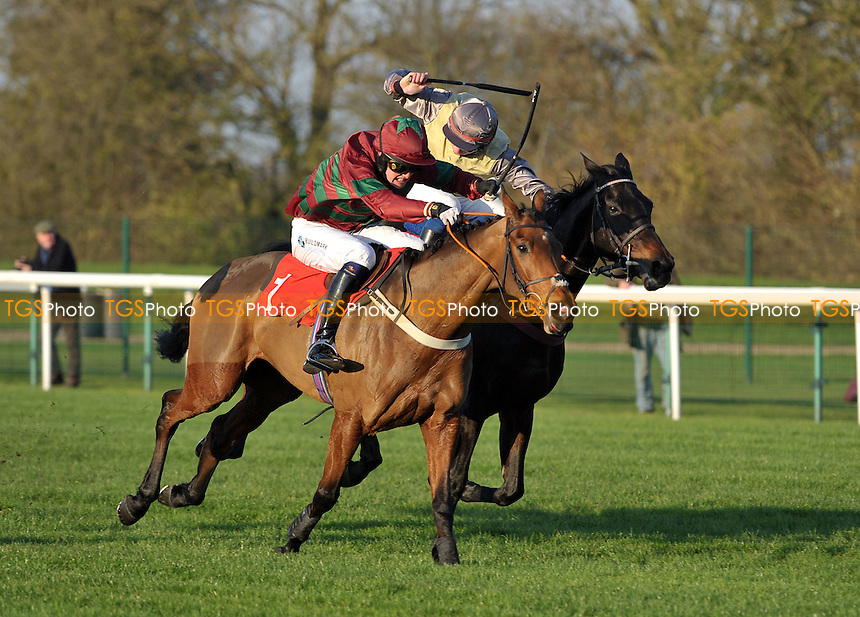 Call at Midnight ridden by Mark Marris beats Spring Moon ridden by Alain Cawley in the run in during the totepool Handicap Chase  at Huntingdon Racecourse, Brampton, Cambridgeshire - 19/11/2011 - MANDATORY CREDIT: Martin Dalton/TGSPHOTO - Self billing applies where appropriate - 0845 094 6026 - contact@tgsphoto.co.uk - NO UNPAID USE.