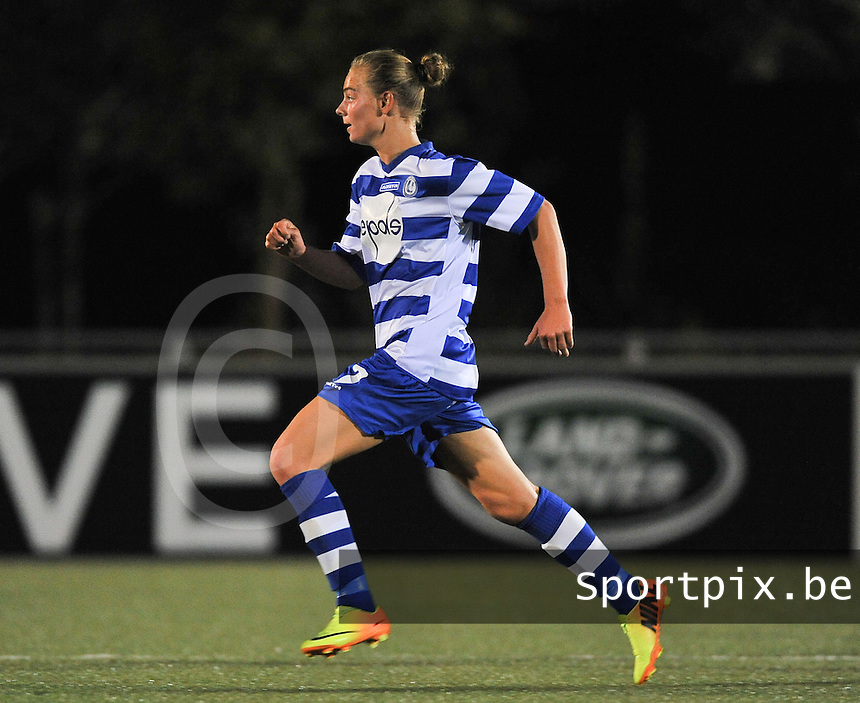 20130906 - OOSTAKKER , BELGIUM : Gent's Margaux Van Ackere pictured during the female soccer match between AA Gent Ladies  and PSV / FC Eindhoven Dames , of the third matchday in the BENELEAGUE competition. Friday 06 th September 2013. PHOTO DAVID CATRY