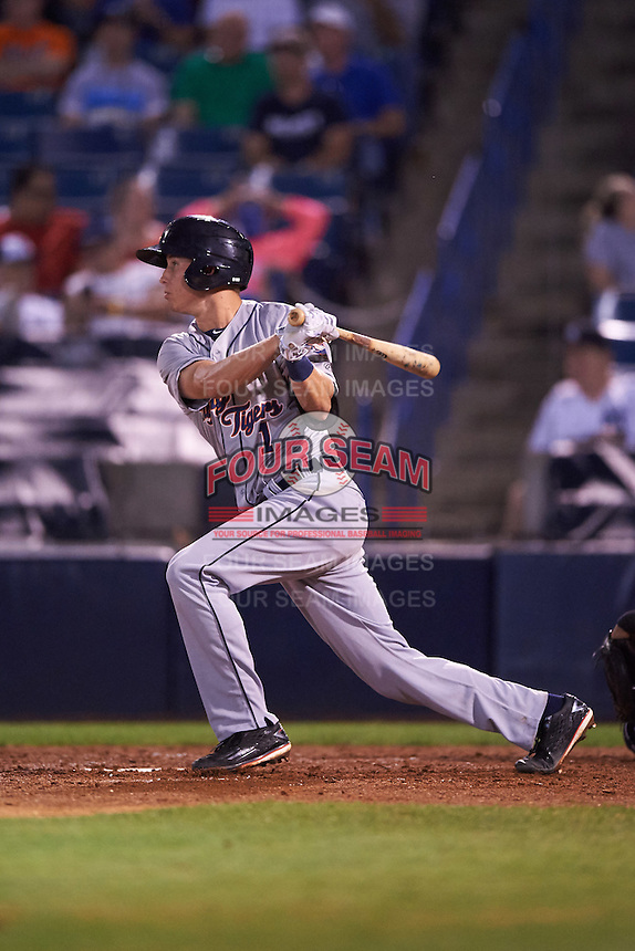 Lakeland Flying Tigers shortstop A.J. Simcox (1) at bat during a game against the Tampa Yankees on April 8, 2016 at George M. Steinbrenner Field in Tampa, Florida.  Tampa defeated Lakeland 7-1.  (Mike Janes/Four Seam Images)