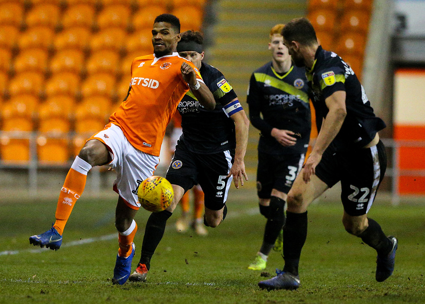 Blackpools Michael Nottingham in action<br /><br />Photographer Alex Dodd/CameraSport<br /><br />The EFL Sky Bet League One - Blackpool v Shrewsbury Town - Saturday 19 January 2019 - Bloomfield Road - Blackpool<br /><br />World Copyright © 2019 CameraSport. All rights reserved. 43 Linden Ave. Countesthorpe. Leicester. England. LE8 5PG - Tel: +44 (0) 116 277 4147 - admin@camerasport.com - www.camerasport.com