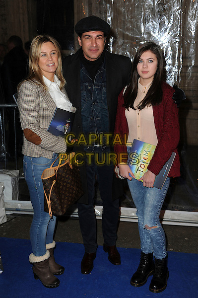 wife & Tamer Hassan & guest.'Cirque Du Soleil: Totem' UK Premiere, Royal Albert Hall, London, England..5th January 2012.full length blue jacket beige elbow jeans denim patches tweed black hat cap married husband pink red.CAP/CAS.©Bob Cass/Capital Pictures.Ben Elton
