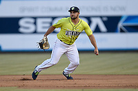 First baseman Chase Chambers (8) of the Columbia Fireflies plays defense in a game against the Charleston RiverDogs on Thursday, April 4, 2019, at Segra Park in Columbia, South Carolina. Charleston won, 2-1. (Tom Priddy/Four Seam Images)